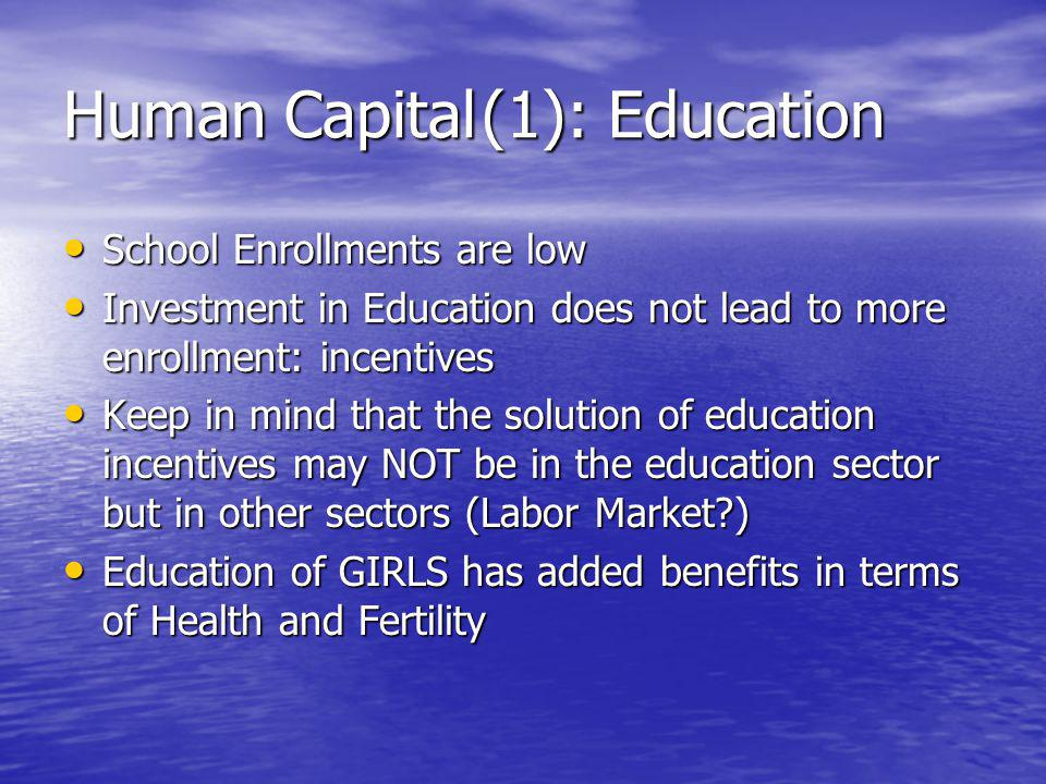 Human Capital(1): Education School Enrollments are low School Enrollments are low Investment in Education does not lead to more enrollment: incentives