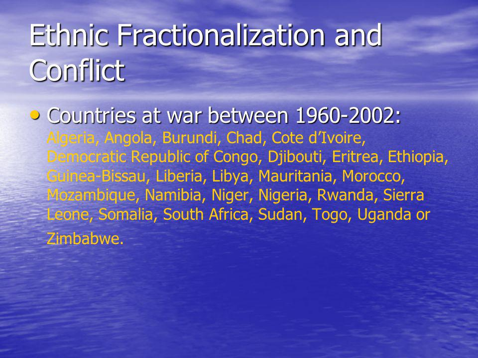 Ethnic Fractionalization and Conflict Countries at war between 1960-2002: Countries at war between 1960-2002: Algeria, Angola, Burundi, Chad, Cote d'I