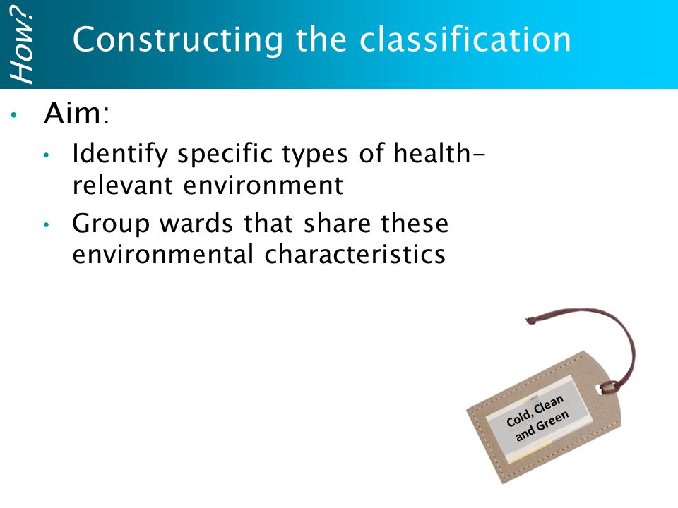 Cold, Clean and Green Constructing the classification How?Aim: Identify specific types of health- relevant environment Group wards that share these en