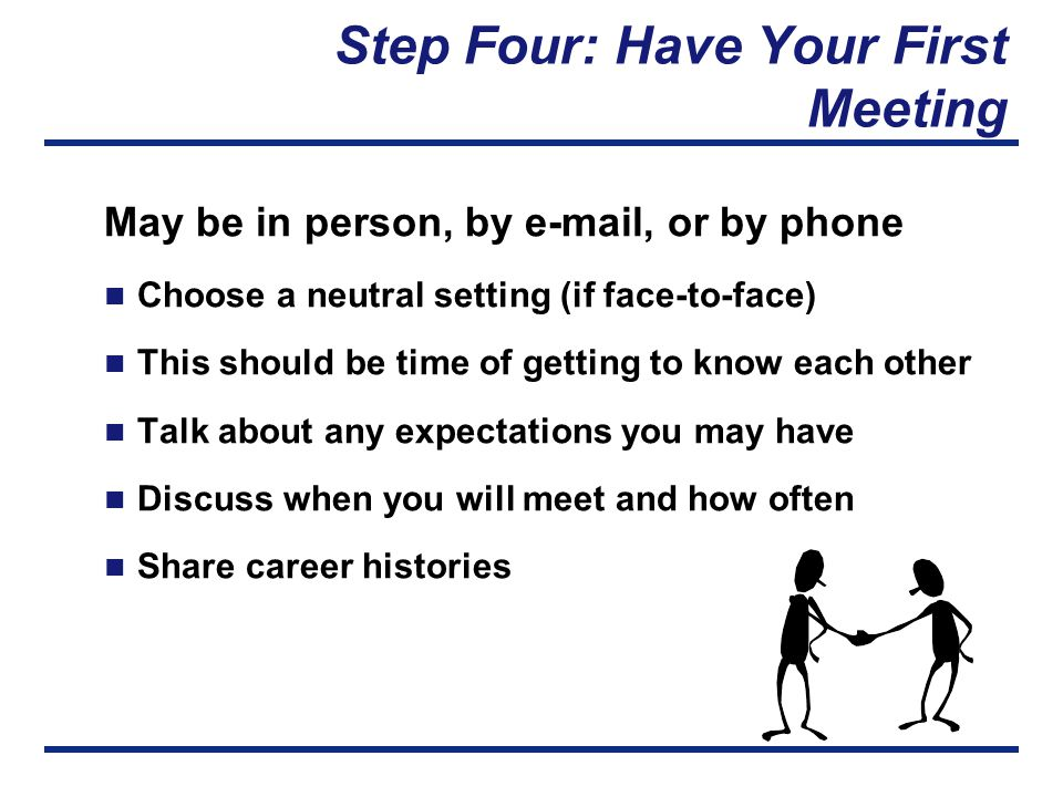 Step Four: Have Your First Meeting May be in person, by e-mail, or by phone Choose a neutral setting (if face-to-face) This should be time of getting to know each other Talk about any expectations you may have Discuss when you will meet and how often Share career histories