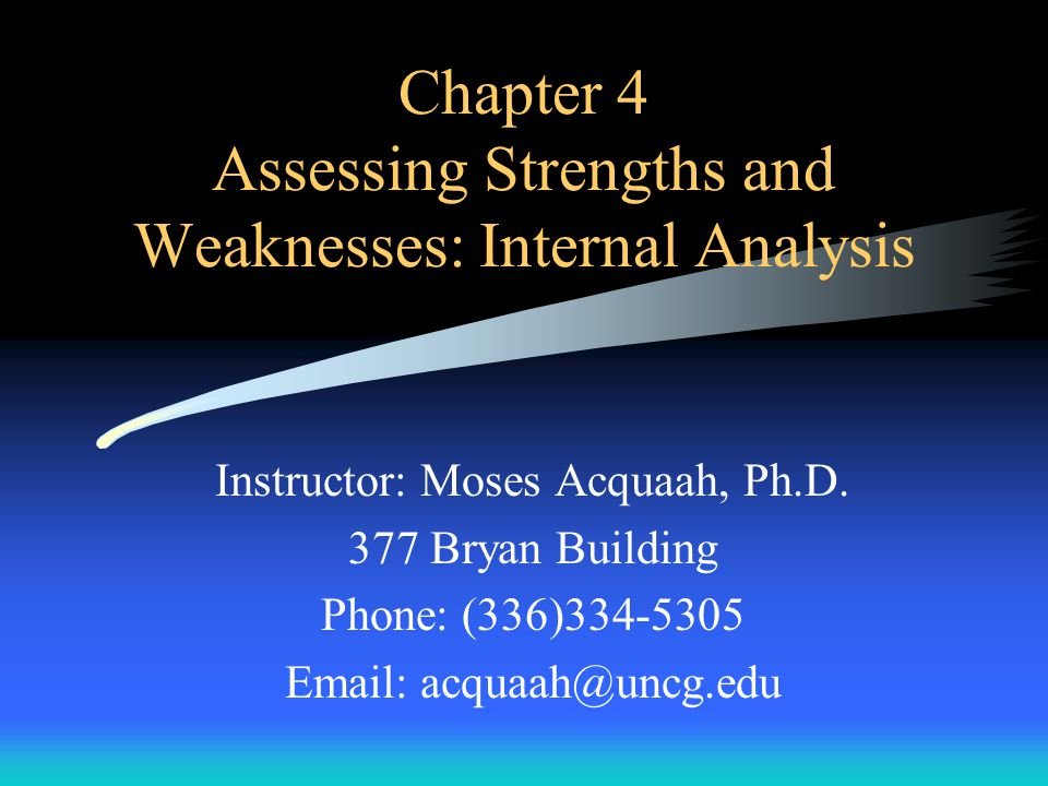 Capabilities Assessment Profile –Step 5: Identify and agree on the key capabilities or competencies Provide basis for resource allocation Classifying an Organization's S&W –Past performance trends Measures such as financial ratios, operations efficiency, etc, –Specific goal or targets Organization's goals are statements of desired outcomes –Comparison against competitors How are competitors doing.