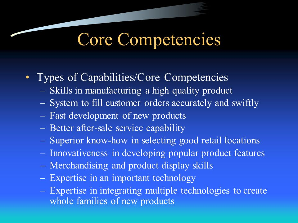Core Competencies Core competencies –A well-performed internal activity that is central, not peripheral, to a company's strategy, competitiveness, and