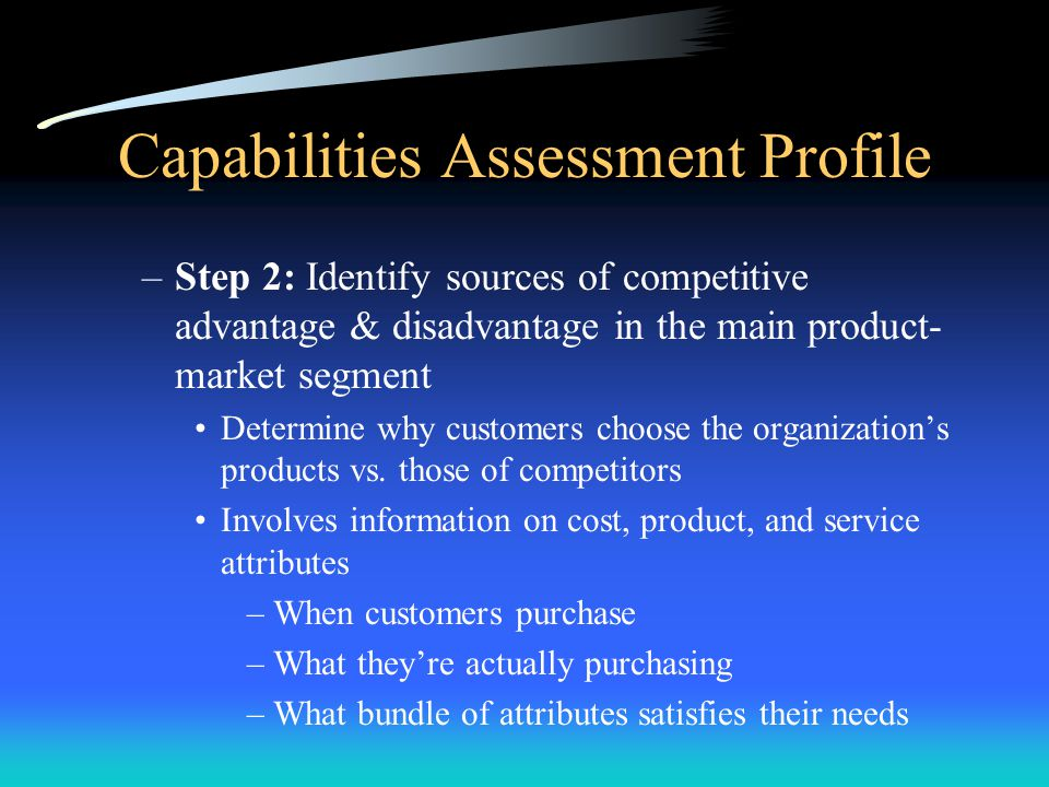 Capabilities Assessment Profile Analysis Consists of two phases: –Phase I: Identify distinctive capabilities –Phase II: Develop and leverage distincti