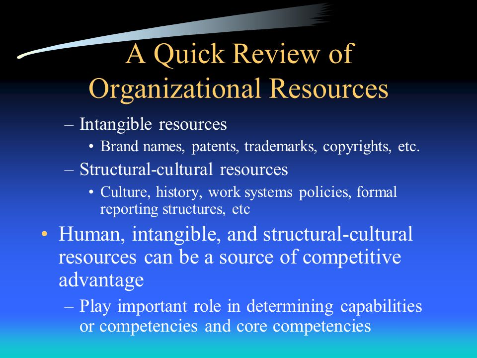 A Quick Review of Organizational Resources –Intangible resources Brand names, patents, trademarks, copyrights, etc.