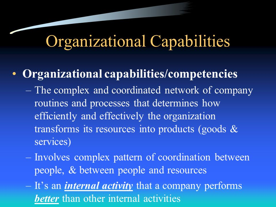 (5) Capabilities Assessment Profile Resembles the internal environmental analysis –Similarity: Focuses on deeper evaluation of S&W –Difference: Focuses only on an firm's capabilities Analysis of capabilities is complex –Not as easily identified as organization's function or even the value creating primary & support activities –Complex nature of capabilities makes it hard for competitors to imitate