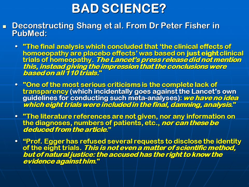 BAD SCIENCE? Deconstructing Shang et al. From Dr Peter Fisher in PubMed: Deconstructing Shang et al. From Dr Peter Fisher in PubMed: