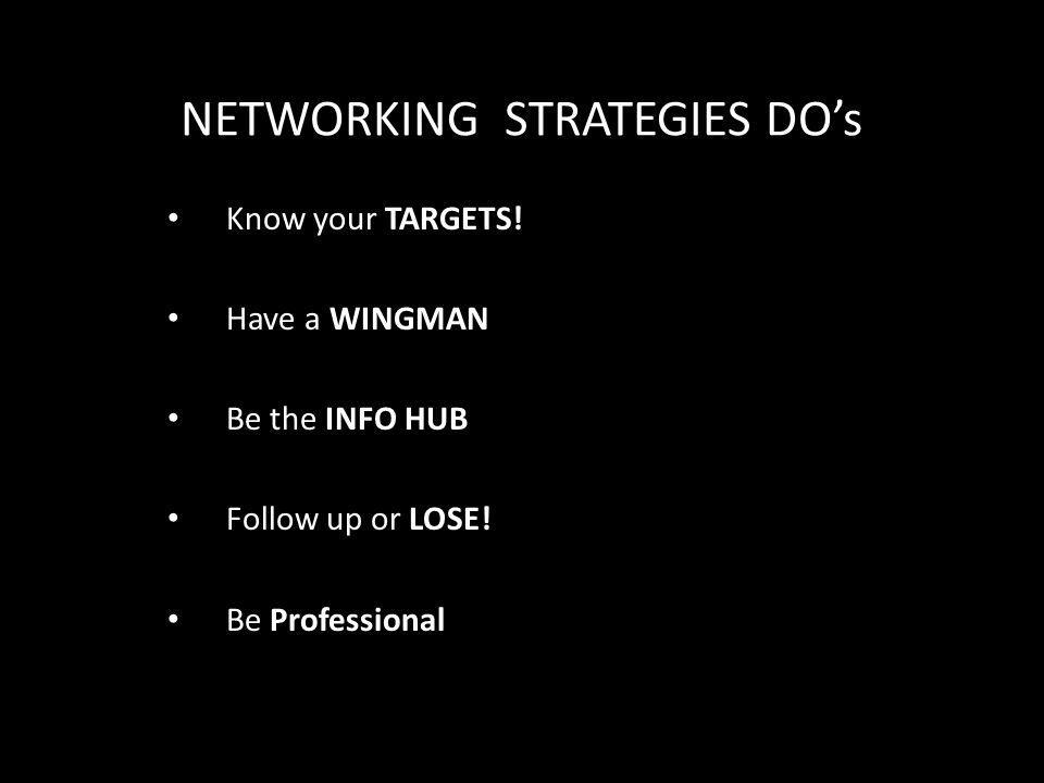 NETWORKING STRATEGIES DO's Know your TARGETS. Have a WINGMAN Be the INFO HUB Follow up or LOSE.
