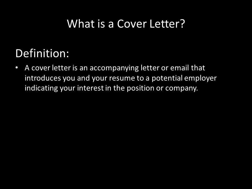 What is a Cover Letter.