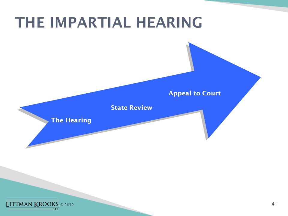 © 2012 THE IMPARTIAL HEARING 41 The Hearing State Review Appeal to Court