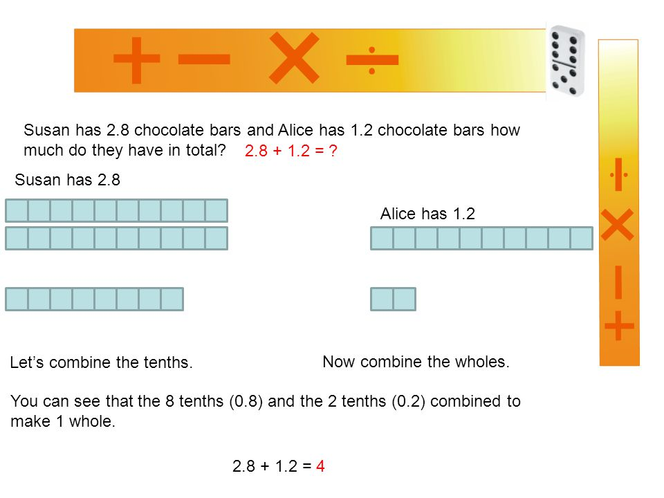 Susan has 2.8 chocolate bars and Alice has 1.2 chocolate bars how much do they have in total.
