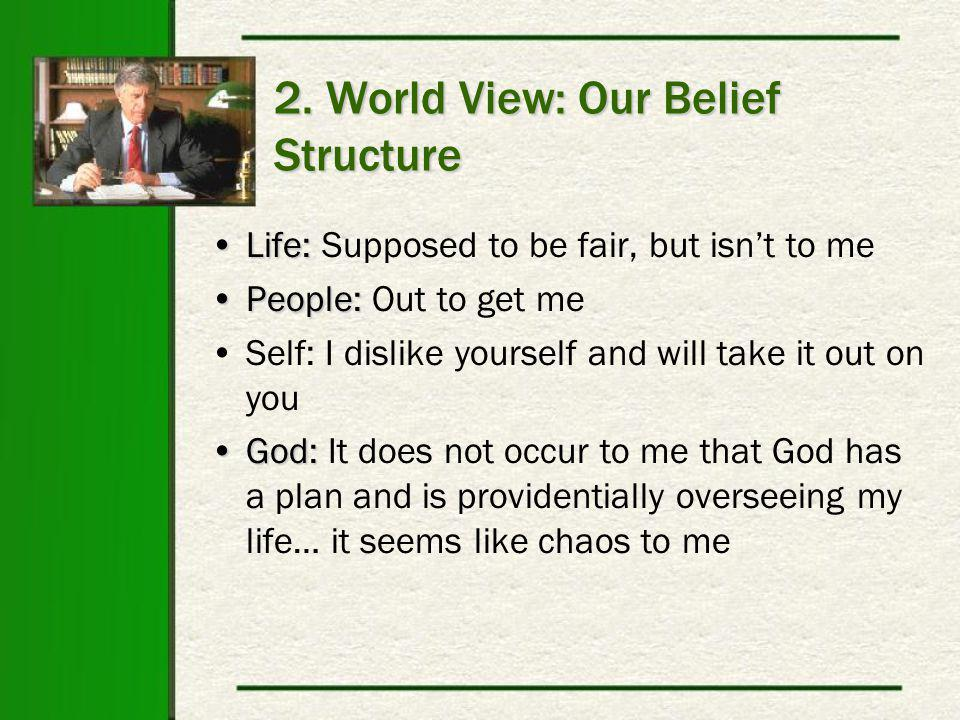 2. World View: Our Belief Structure Life:Life: Supposed to be fair, but isn't to me People:People: Out to get me Self: I dislike yourself and will tak