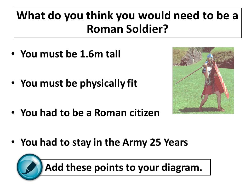 You must be 1.6m tall You must be physically fit You had to be a Roman citizen You had to stay in the Army 25 Years What do you think you would need t