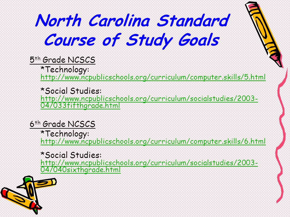 North Carolina Standard Course of Study Goals 5 th Grade NCSCS *Technology: http://www.ncpublicschools.org/curriculum/computer.skills/5.html http://www.ncpublicschools.org/curriculum/computer.skills/5.html *Social Studies: http://www.ncpublicschools.org/curriculum/socialstudies/2003- 04/033fifthgrade.html http://www.ncpublicschools.org/curriculum/socialstudies/2003- 04/033fifthgrade.html 6 th Grade NCSCS *Technology: http://www.ncpublicschools.org/curriculum/computer.skills/6.html http://www.ncpublicschools.org/curriculum/computer.skills/6.html *Social Studies: http://www.ncpublicschools.org/curriculum/socialstudies/2003- 04/040sixthgrade.html http://www.ncpublicschools.org/curriculum/socialstudies/2003- 04/040sixthgrade.html