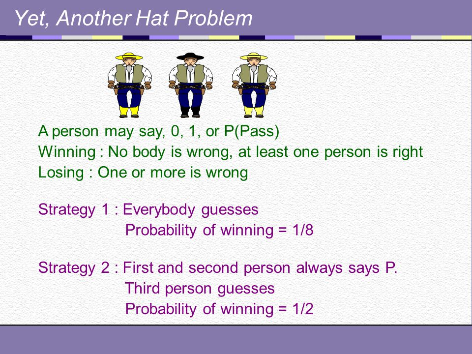 Another Hat Problem x n x n-1 x n-2 x n-3 ……………… x 1 ………..