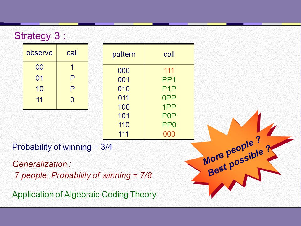 Yet, Another Hat Problem A person may say, 0, 1, or P(Pass) Winning : No body is wrong, at least one person is right Losing : One or more is wrong Strategy 1 : Everybody guesses Probability of winning = 1/8 Strategy 2 : First and second person always says P.
