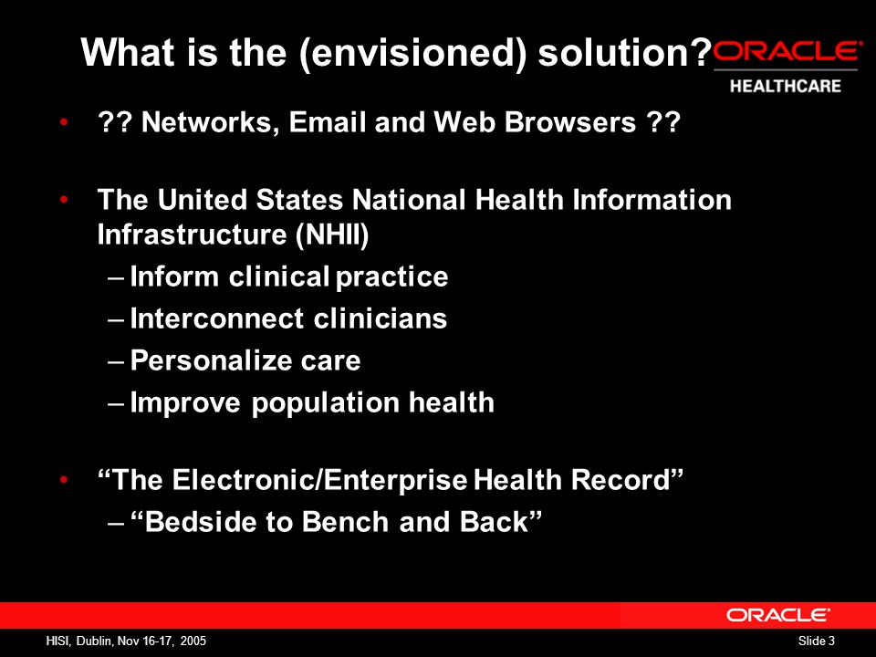 Slide 3 HISI, Dublin, Nov 16-17, 2005 What is the (envisioned) solution.