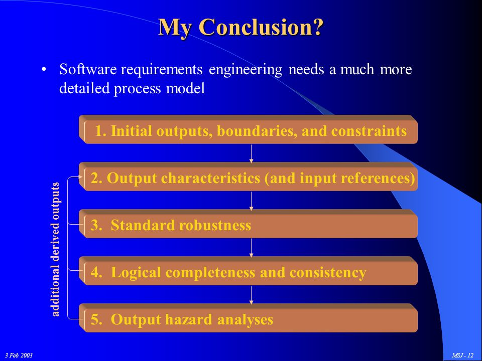 3 Feb 2003MSJ - 12 My Conclusion? Software requirements engineering needs a much more detailed process model additional derived outputs 1. Initial out