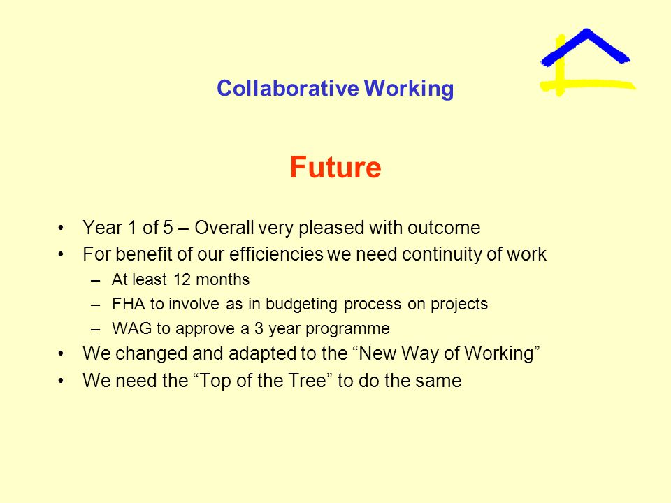 Collaborative Working Future Year 1 of 5 – Overall very pleased with outcome For benefit of our efficiencies we need continuity of work –At least 12 months –FHA to involve as in budgeting process on projects –WAG to approve a 3 year programme We changed and adapted to the New Way of Working We need the Top of the Tree to do the same