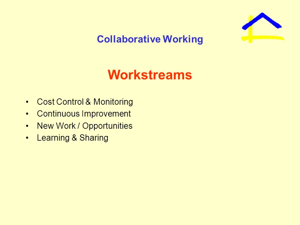 Collaborative Working Workstreams Cost Control & Monitoring Continuous Improvement New Work / Opportunities Learning & Sharing