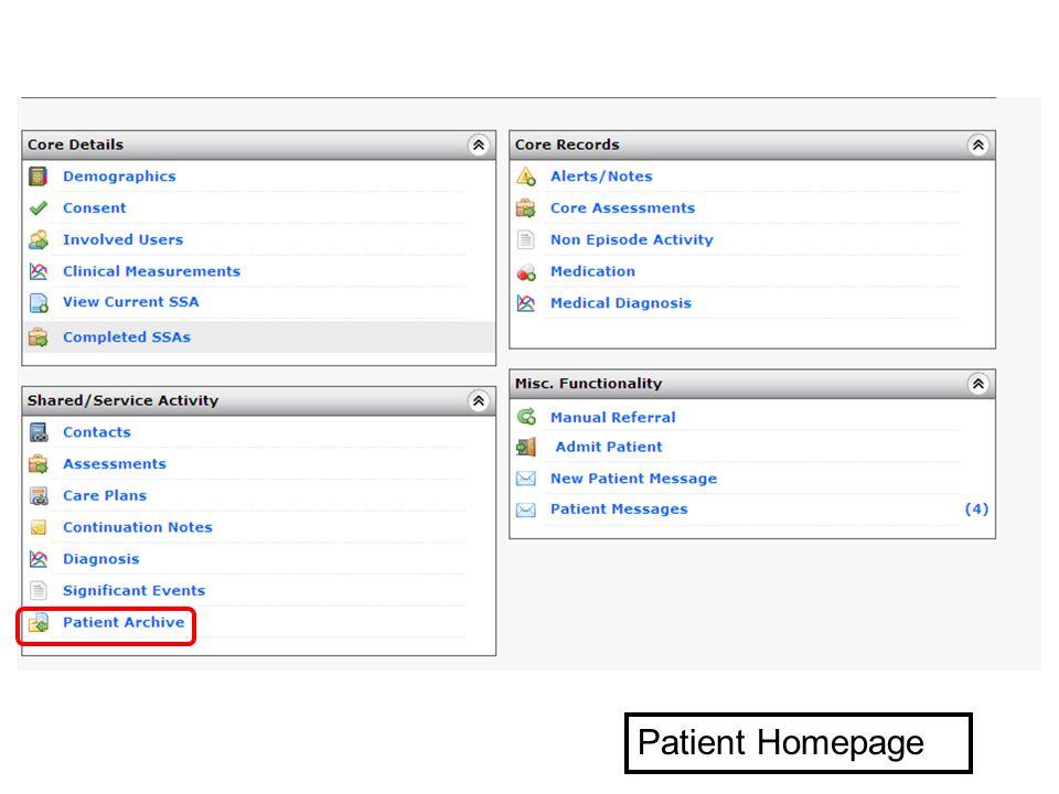 Patient Homepage