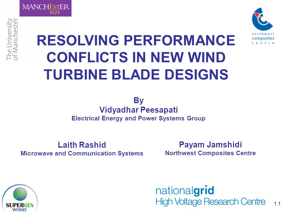 Combining the strengths of UMIST and The Victoria University of Manchester 1.1 RESOLVING PERFORMANCE CONFLICTS IN NEW WIND TURBINE BLADE DESIGNS By Vi