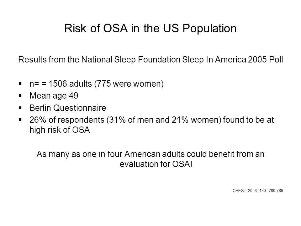 Risk of OSA in the US Population Results from the National Sleep Foundation Sleep In America 2005 Poll  n= = 1506 adults (775 were women)  Mean age
