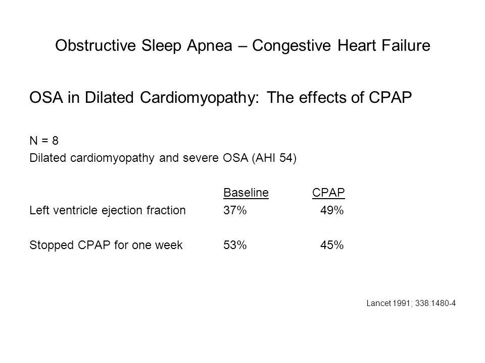 Obstructive Sleep Apnea – Congestive Heart Failure OSA in Dilated Cardiomyopathy: The effects of CPAP N = 8 Dilated cardiomyopathy and severe OSA (AHI