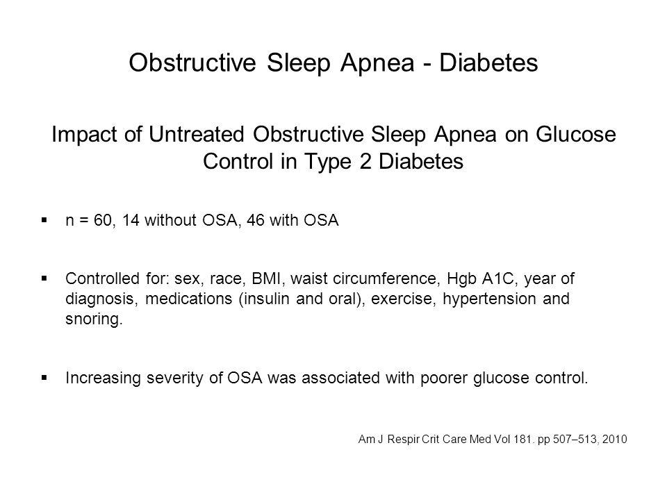 Obstructive Sleep Apnea - Diabetes Impact of Untreated Obstructive Sleep Apnea on Glucose Control in Type 2 Diabetes  n = 60, 14 without OSA, 46 with