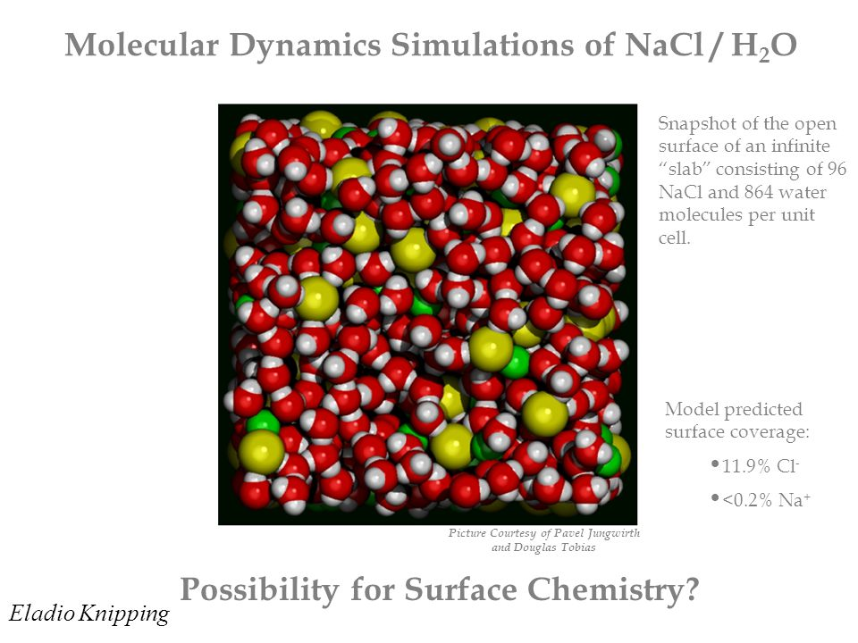 Molecular Dynamics Simulations of NaCl / H 2 O Possibility for Surface Chemistry.