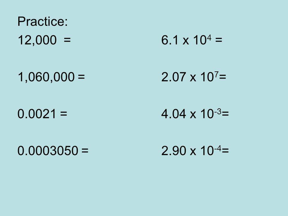 Practice: 12,000 = 6.1 x 10 4 = 1,060,000 =2.07 x 10 7 = 0.0021 =4.04 x 10 -3 = 0.0003050 =2.90 x 10 -4 =