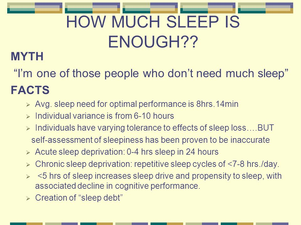 HOW MUCH SLEEP IS ENOUGH?. MYTH I'm one of those people who don't need much sleep FACTS  Avg.