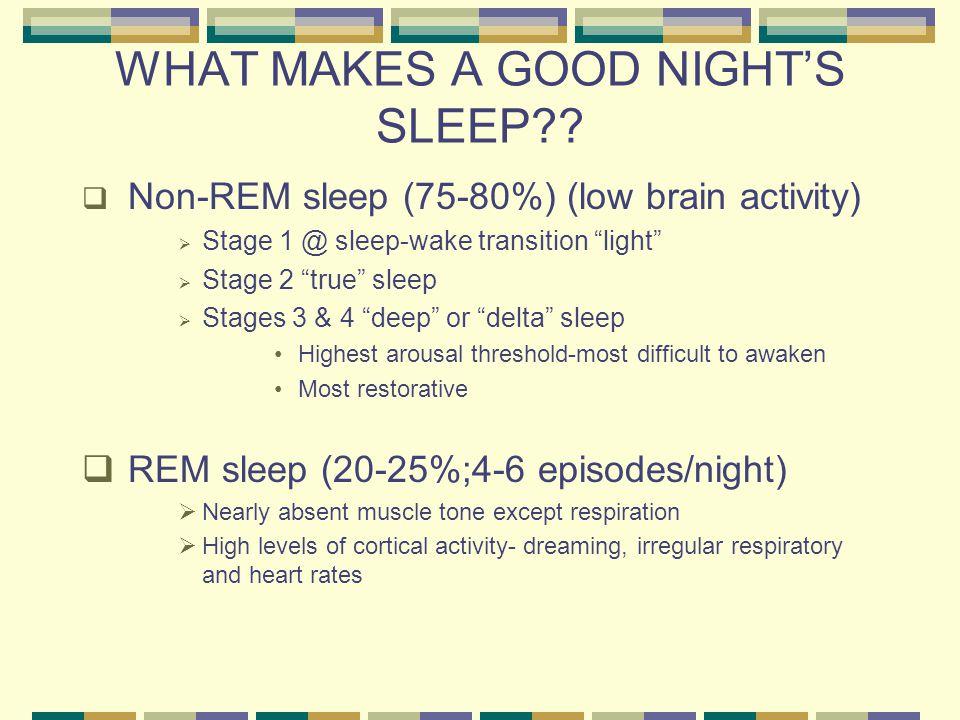 WHAT MAKES A GOOD NIGHT'S SLEEP?.