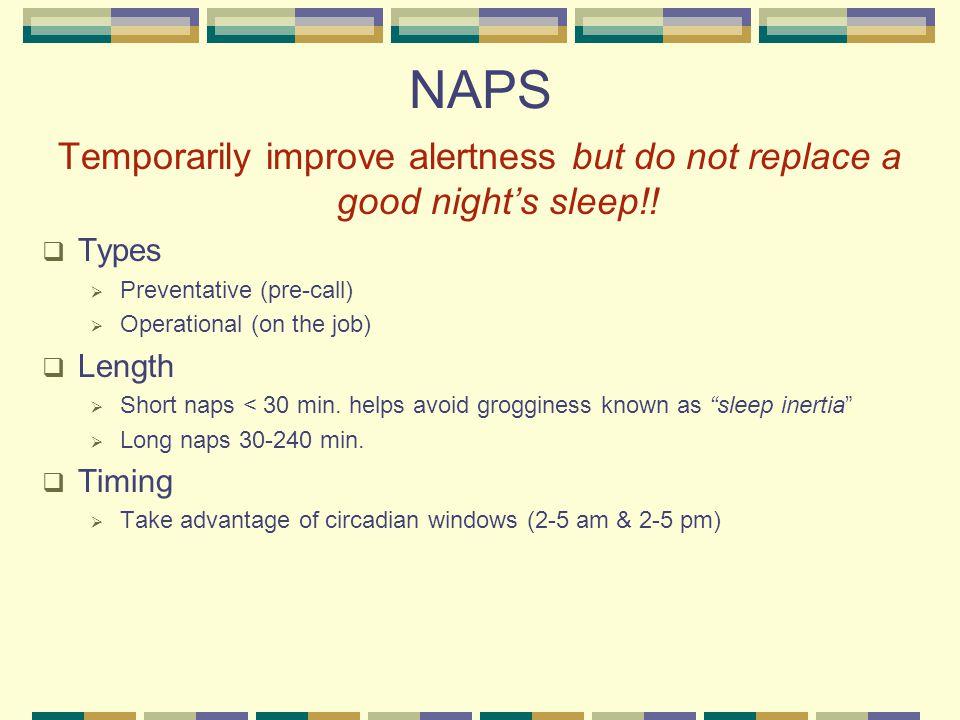 NAPS Temporarily improve alertness but do not replace a good night's sleep!.