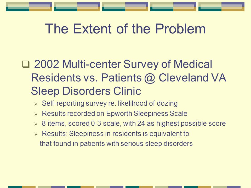 The Extent of the Problem  2002 Multi-center Survey of Medical Residents vs.
