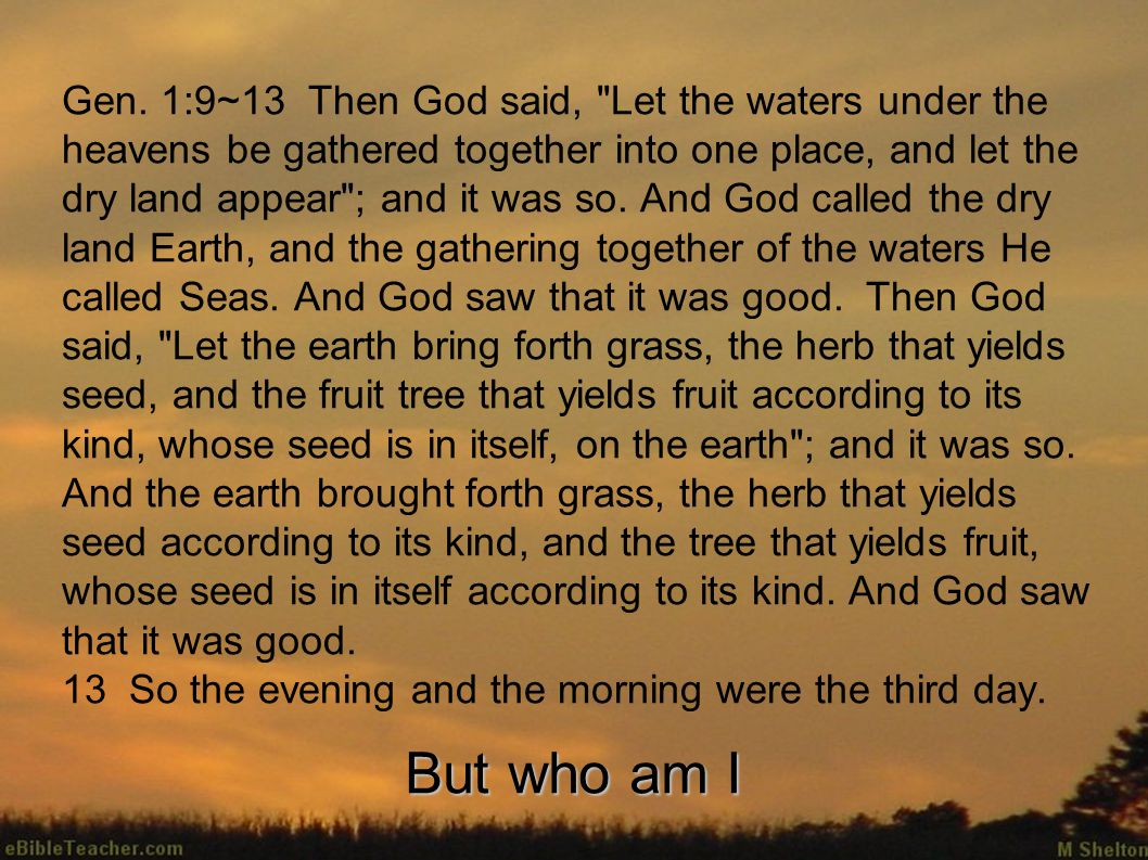 Gen. 1:9~13 Then God said,