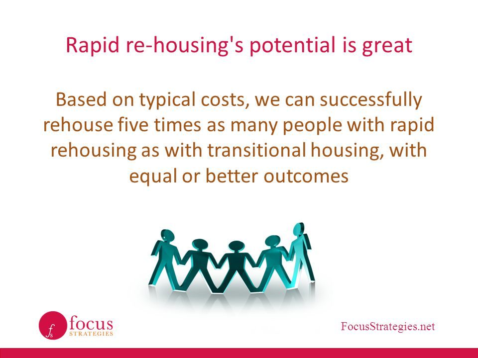 FocusStrategies.net Rapid re-housing's potential is great Based on typical costs, we can successfully rehouse five times as many people with rapid reh