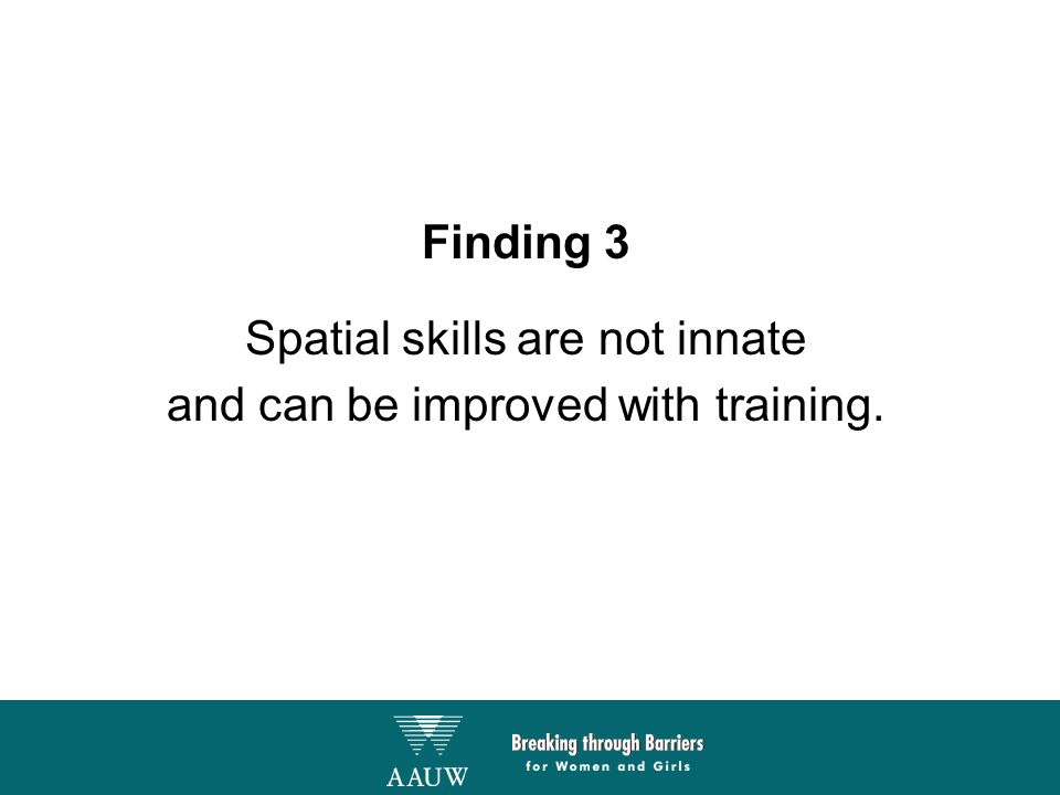 Finding 3 Spatial skills are not innate and can be improved with training.