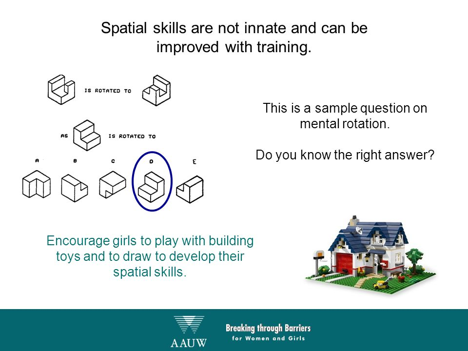 Spatial skills are not innate and can be improved with training. Encourage girls to play with building toys and to draw to develop their spatial skill