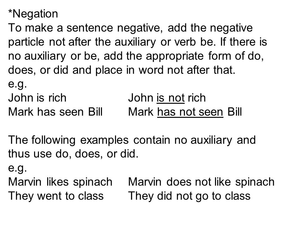 *Negation To make a sentence negative, add the negative particle not after the auxiliary or verb be.