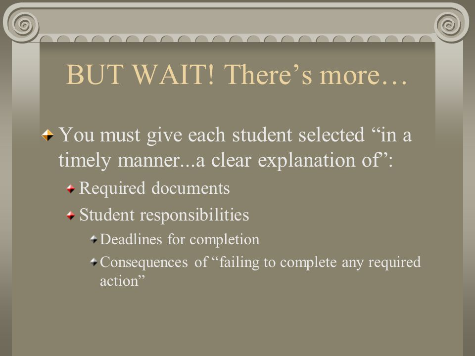 "BUT WAIT! There's more… You must give each student selected ""in a timely manner...a clear explanation of"": Required documents Student responsibilities"