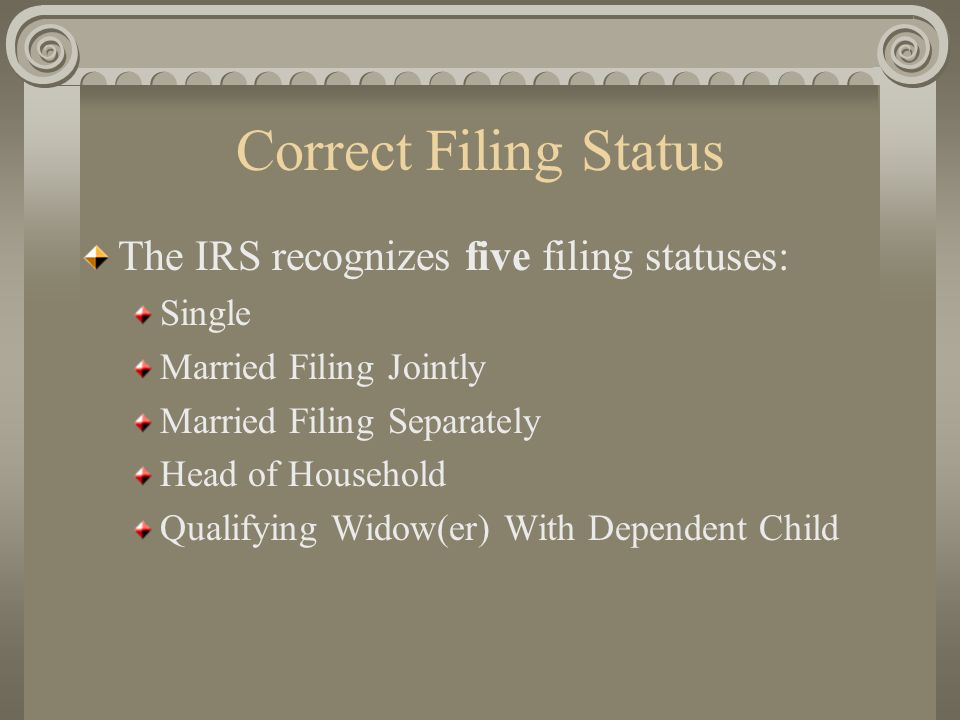 Correct Filing Status The IRS recognizes five filing statuses: Single Married Filing Jointly Married Filing Separately Head of Household Qualifying Wi