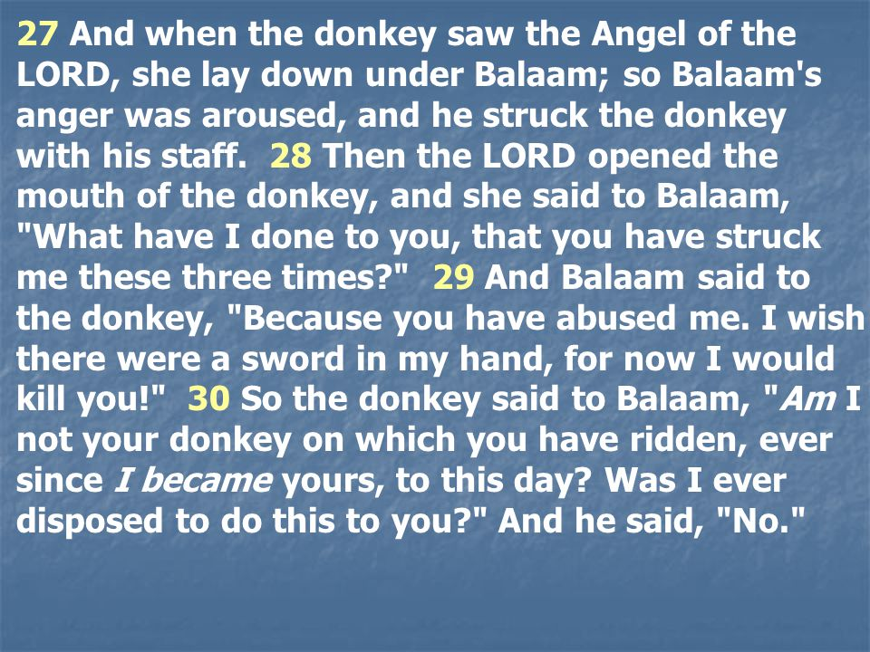 27 And when the donkey saw the Angel of the LORD, she lay down under Balaam; so Balaam s anger was aroused, and he struck the donkey with his staff.