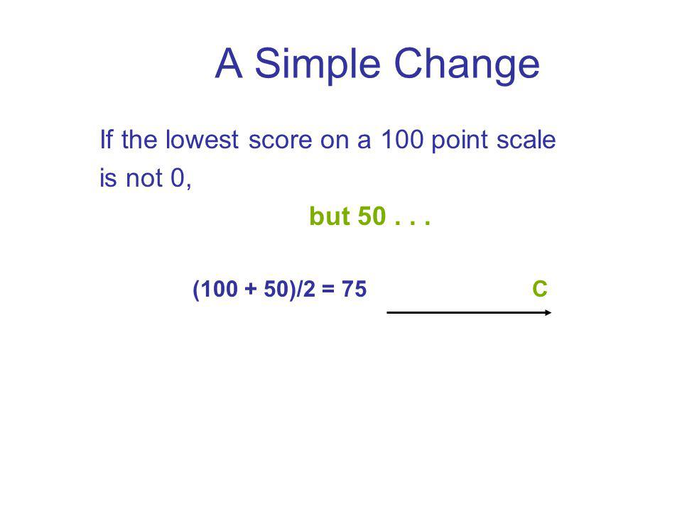 A Simple Change If the lowest score on a 100 point scale is not 0, but 50... (100 + 50)/2 = 75C