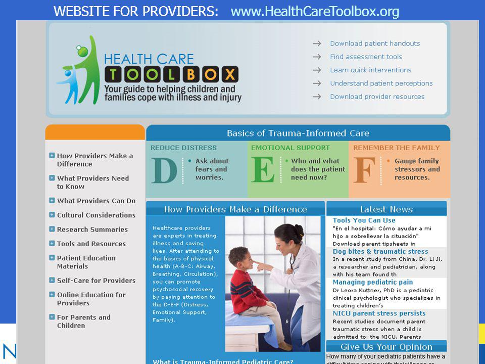 WEBSITE FOR PROVIDERS: www.HealthCareToolbox.org