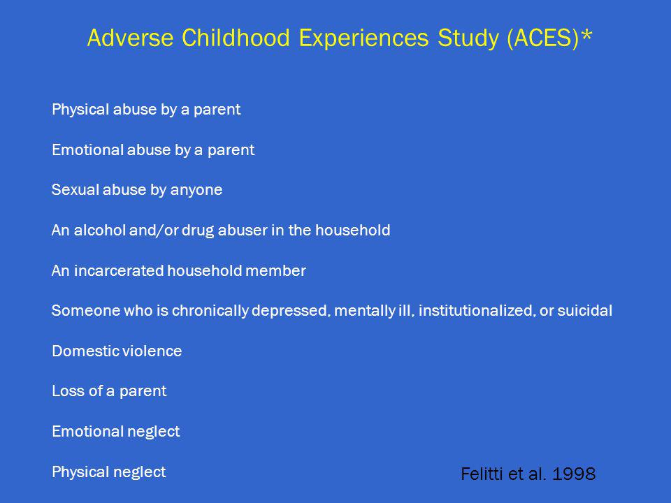Adverse Childhood Experiences Study (ACES)* Felitti et al.