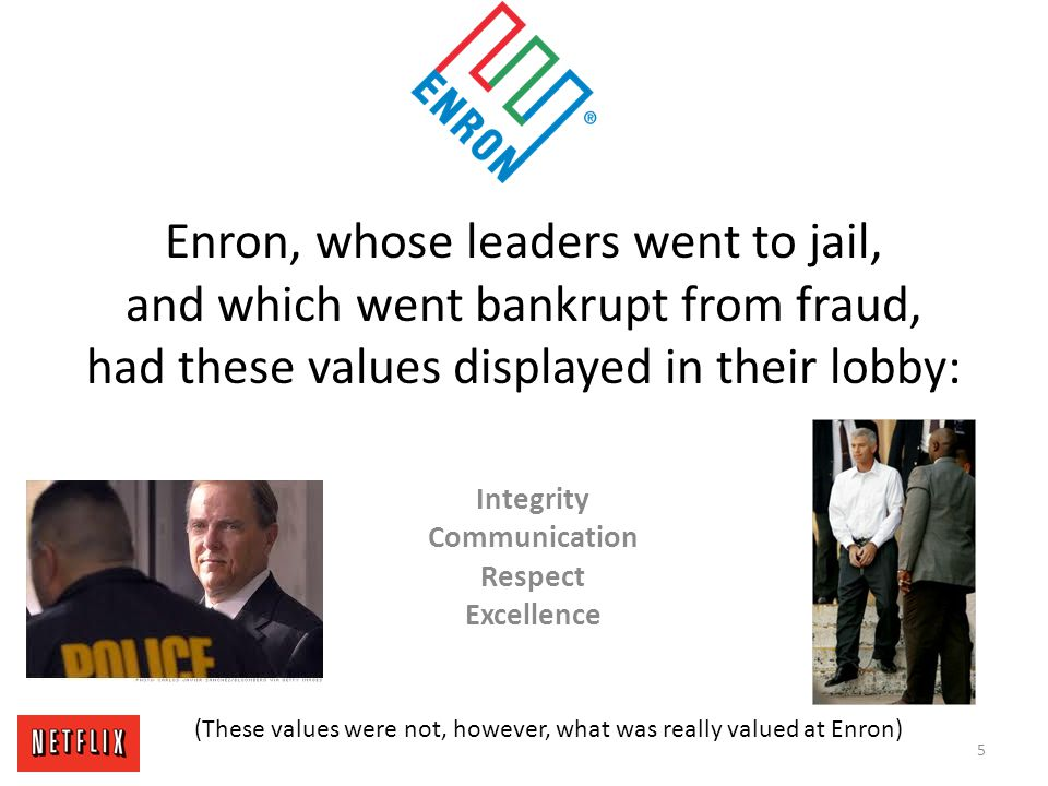 Enron, whose leaders went to jail, and which went bankrupt from fraud, had these values displayed in their lobby: Integrity Communication Respect Exce