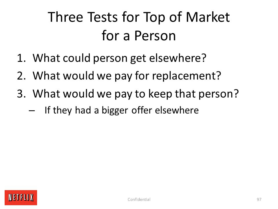 Three Tests for Top of Market for a Person 1.What could person get elsewhere? 2.What would we pay for replacement? 3.What would we pay to keep that pe