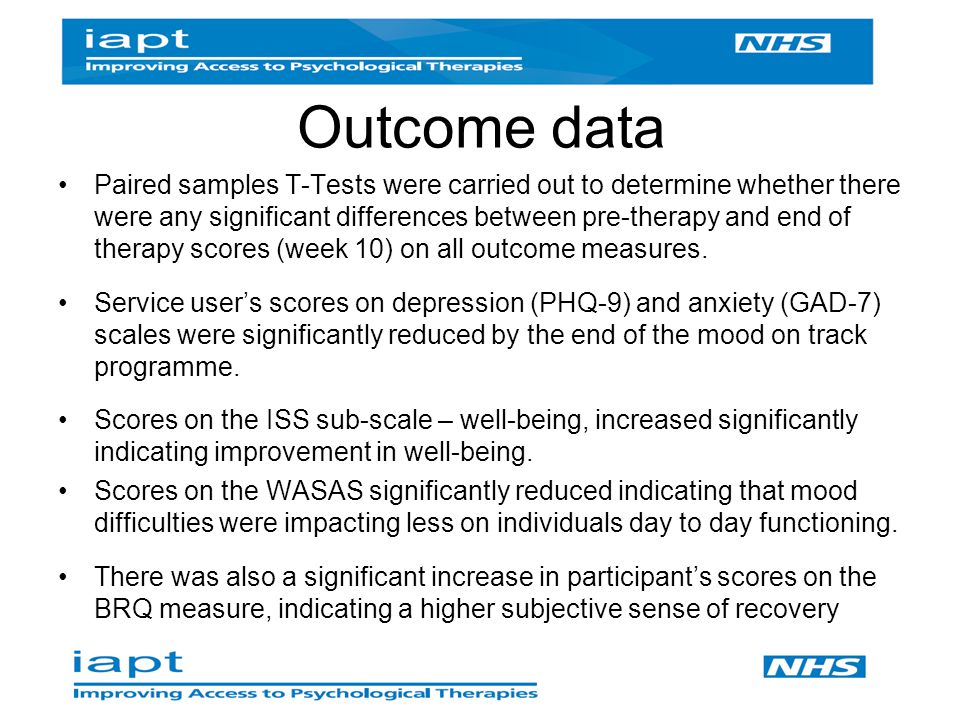 Outcome data Paired samples T-Tests were carried out to determine whether there were any significant differences between pre-therapy and end of therapy scores (week 10) on all outcome measures.