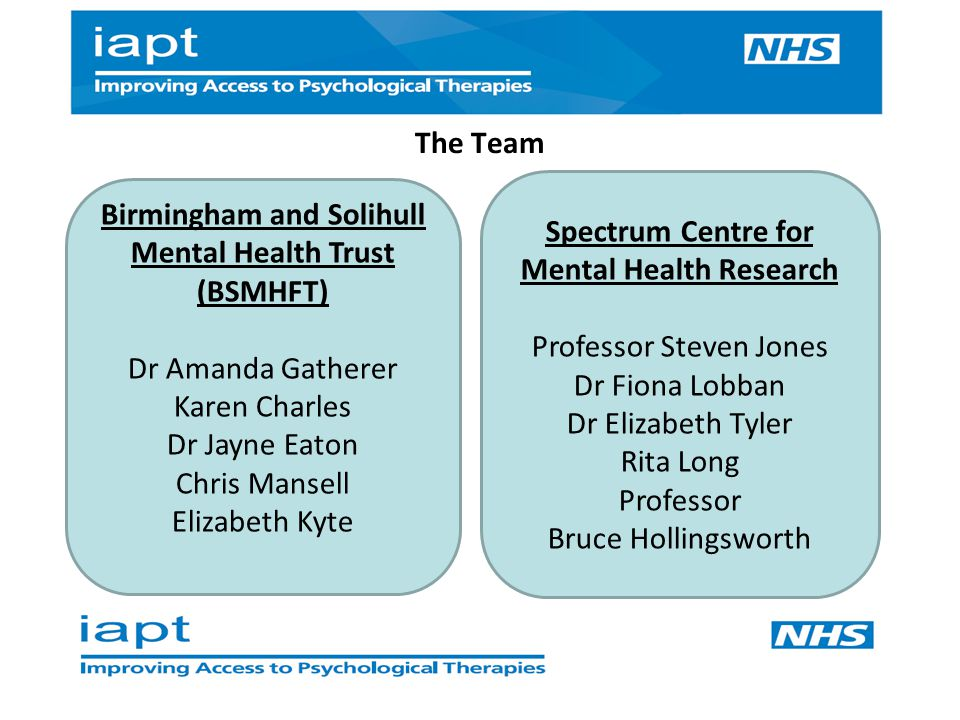 The Team Spectrum Centre for Mental Health Research Professor Steven Jones Dr Fiona Lobban Dr Elizabeth Tyler Rita Long Professor Bruce Hollingsworth Birmingham and Solihull Mental Health Trust (BSMHFT) Dr Amanda Gatherer Karen Charles Dr Jayne Eaton Chris Mansell Elizabeth Kyte