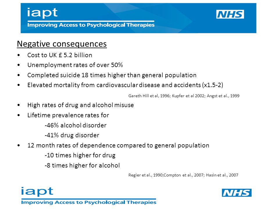 Negative consequences Cost to UK £ 5.2 billion Unemployment rates of over 50% Completed suicide 18 times higher than general population Elevated mortality from cardiovascular disease and accidents (x1.5-2) Gareth Hill et al, 1996; Kupfer et al 2002; Angst et al., 1999 High rates of drug and alcohol misuse Lifetime prevalence rates for -46% alcohol disorder -41% drug disorder 12 month rates of dependence compared to general population -10 times higher for drug -8 times higher for alcohol Regier et al., 1990;Compton et al., 2007; Hasin et al., 2007